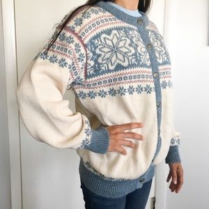 Dale of Norway Fair Isle Wool Cardigan Sweater M
